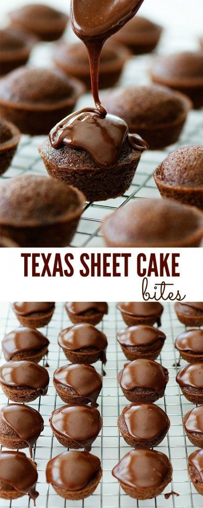 Texas Sheet Cake Bites recipe from Life in the Lofthouse. The delicious classic cake in bite-size form!