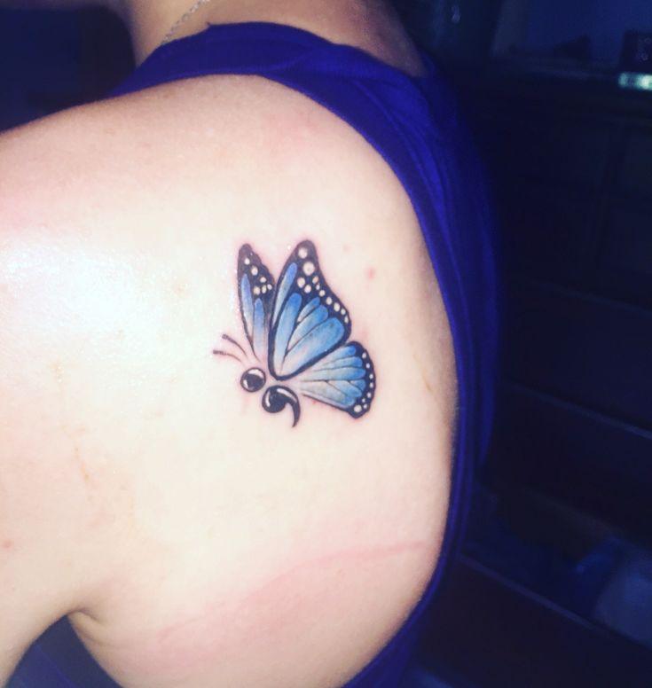 Semicolon butterfly tattoo