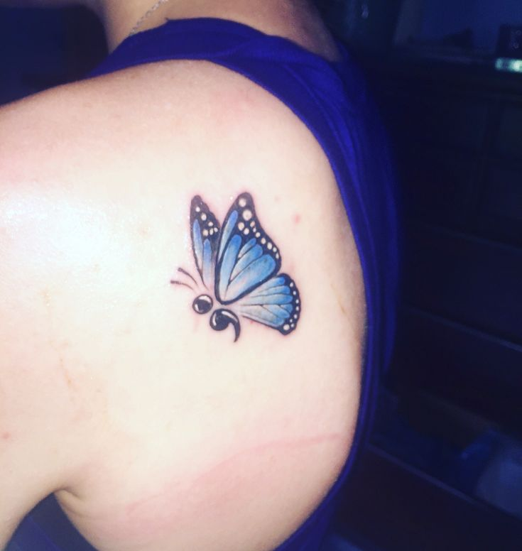 Semicolon butterfly tattoo                                                                                                                                                                                 More