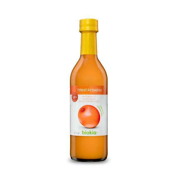 シーバックソーンジュース375ml/2,000円。北欧では自然はレストランで最近使われているベリーです。また果実種の中では唯一油が含まれており高い抗酸化力が含まれています。各種ビタミン・ミネラル・ファイトケミカルなど約200種類以上の栄養分を含むスーパーフードです。<biokia-japan>