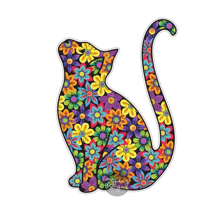 Etiqueta engomada del gato Etiqueta del coche Etiqueta del ordenador portátil Etiqueta para el parachoques Flores coloridas Hippie Boho Etiqueta engomada linda del coche Mascota Animal Gatito Floral Etiqueta de la pared Regalo femenino