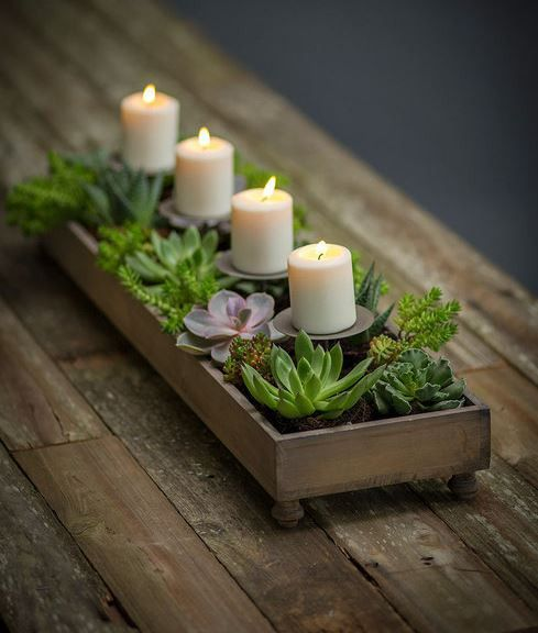 The possibilities are endless with this handmade from recycled pine tray. Can be used year round by changing your candle colors and fillers... plants, dried flowers, wine corks, etc. (candles & filler