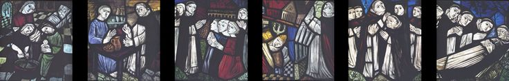 Dominic in stained glass image from Dominican Province of St. Dominic/ Order of Preachers - Dominicans of Canada website.