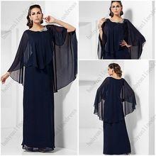 Элегантный тёмный морской синий шифон мать платья невесты с шаль длинная вечерние платья(China (Mainland))