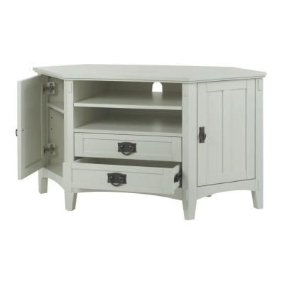 Home Decorators Collection 48 in. W Artisan 2-Drawer Corner TV Stand in White-9224600410 - The Home Depot