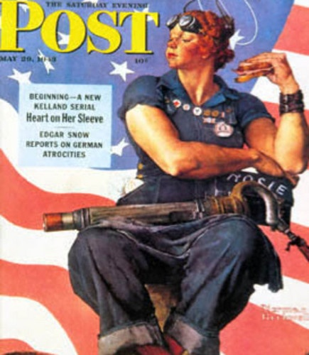 """Norman Rockwell's """"Rosie the Riviter"""" appeared on Saturday Eveining Post May 29, 1943. A Fictional character who came to symbolize the millions of real women who filled America's factories during World War II"""