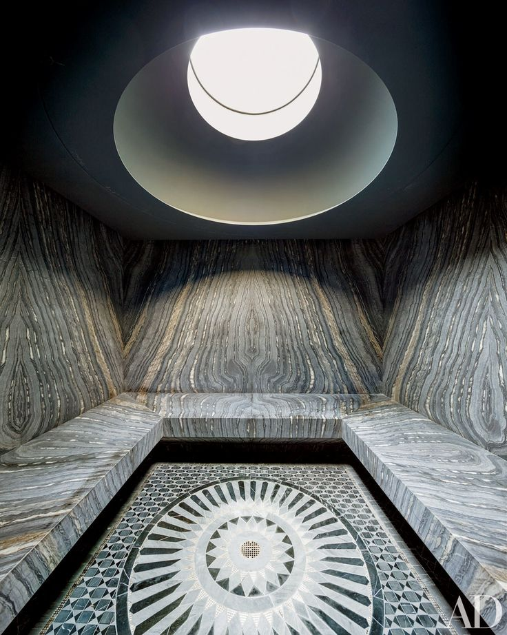 One of 22 Baths Swathed in Graphic Marble, Photos | sauna / Architectural Digest (=)