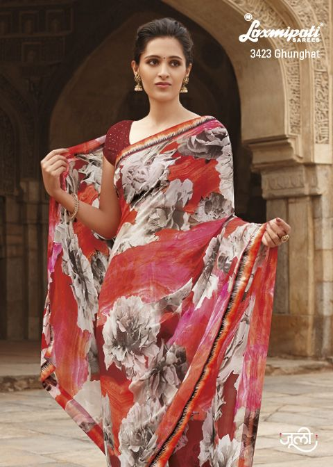 Light coral, red & multi georgette saree decorate with gray floral prints, Contrast blouse & lace.