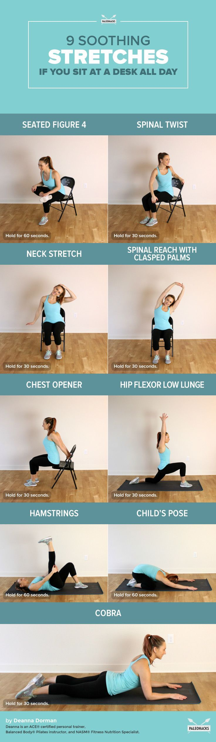 Sit at a computer all day at work? Spend hours sitting through traffic? Here are nine stretches to soothe and strengthen muscles to prevent lower back pain.