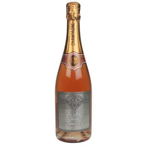 Personalised Rose Champagne With Love Pewter Label  from www.personalisedweddinggifts.co.uk :: ONLY £59.99