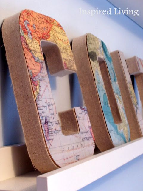 """Inspired Living: DIY Projects - would love to do this and spell out """"travel"""" with maps of all the places we've been."""