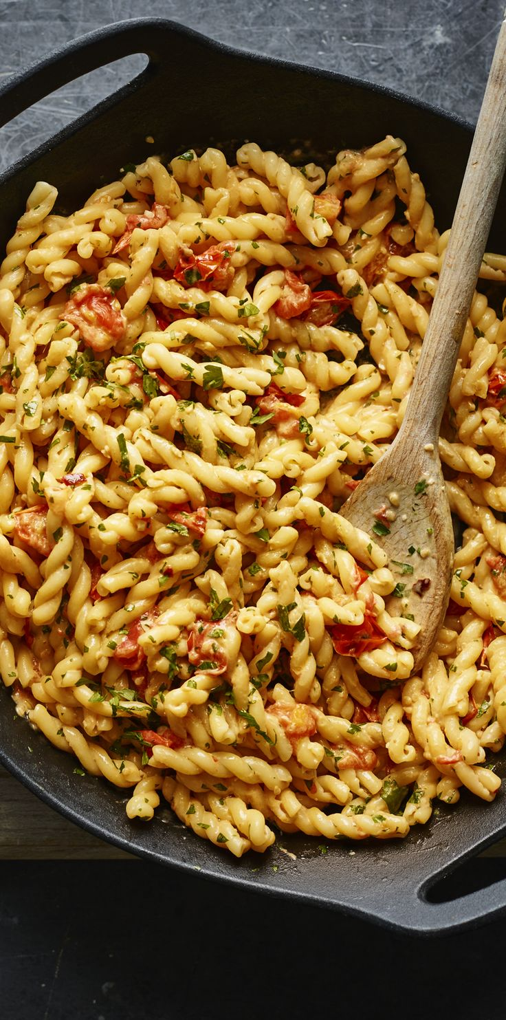 Midweek meals don't have to compromise on taste with this 10-minute pasta with creamy mascarpone and sweet cherry tomatoes from Nigella Lawson.