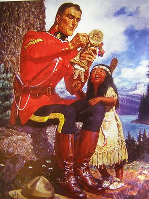 Mountie with Indian girl and doll RMCP