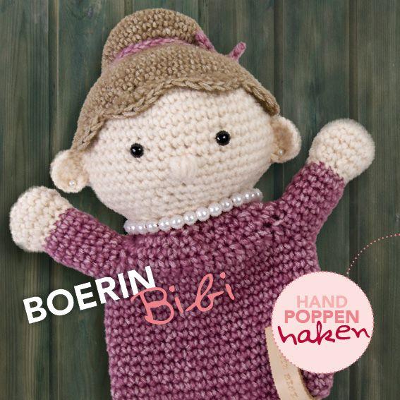 Boerin Bibi uit mijn boek Handpoppen haken #haken #haakpatroon #gehaakt #amigurumi #knuffel #gehaakt #crochet #häkeln #cutedutch