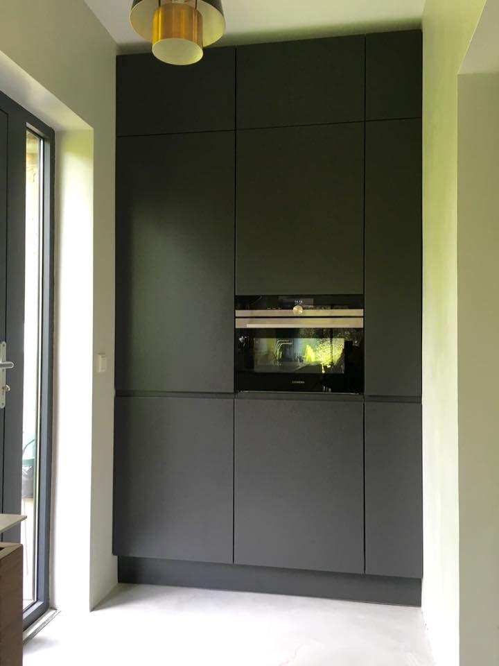 Referentie Wildhagen   Moderne greeploze kastenwand met inbouwapparatuur. https://www.facebook.com/wildhagen.nl/photos/pcb.868451396593261/868442633260804/?type=3 #designkeuken