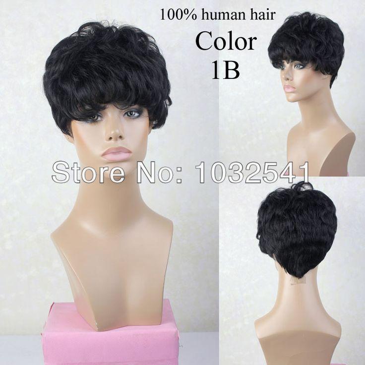 ХОТИТЕ ВОЛОСЫ БЕСПЛАТНАЯ ДОСТАВКА 100% ху человек волос парики прямой парик для чернокожих женщин короткие ху человек волос парики черные волосы 1B #