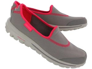 Skechers Womens GO WALK gray/pink lightweight slip on shoes
