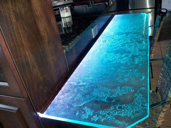 texture verre fusion éclairé avec Led