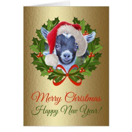 Merry Christmas Baby Pygmy Goat Kid Oil Painting Card - christmas cards merry xmas diy cyo greetings
