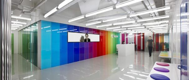 Modern Office Interior Design with Bright Color Decorating - Office design colors