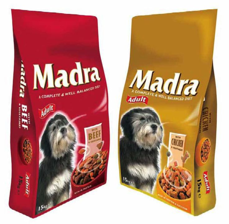 Packaging designed for Madra Dog food Ireland's leading Dog Food Range.