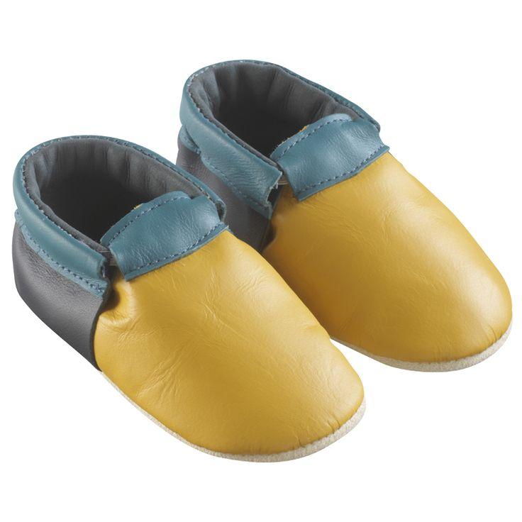 Jaune , Marine, Bleu > http://www.tichoups.fr/chausson-cuir-souple-sans-motif/chaussons-bebe-cuir-souple-ticolo-jaune-marine-bleu.html