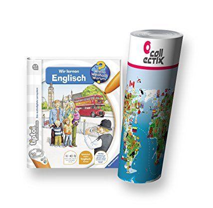 Ravensburger tiptoi ® Buch Wieso? Weshalb? Warum? - Wir lernen Englisch + Kinder Weltkarte - Länder, Tiere, Kontinente