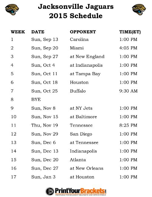Printable Jacksonville Jaguars Schedule - 2015 Football Season