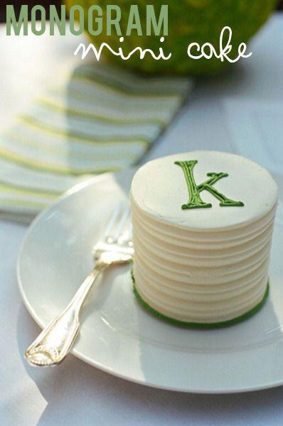Monogram mini cake for bridal shower