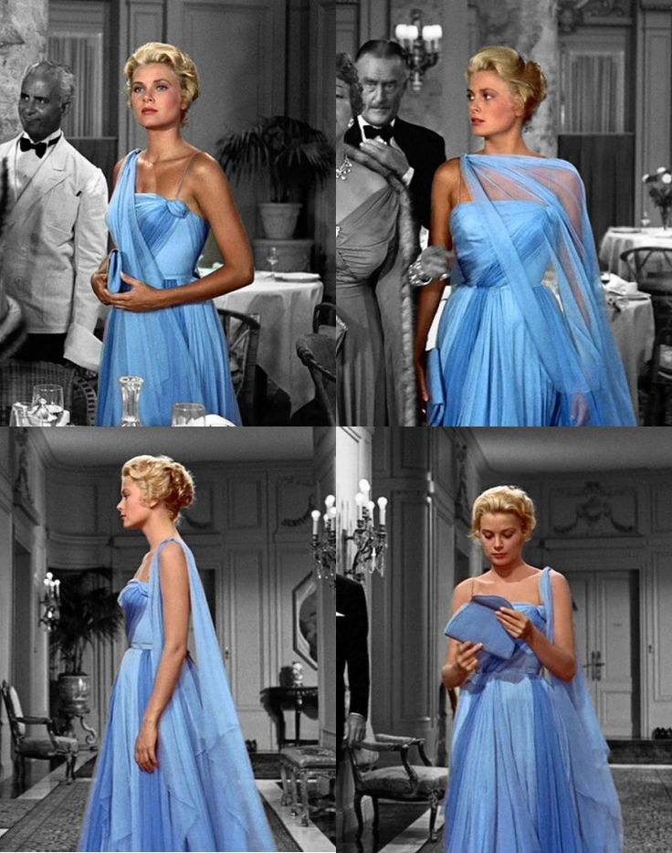 THAT blue dress on Grace Kelly in To Catch a Thief 50s sheer silk long evening gown