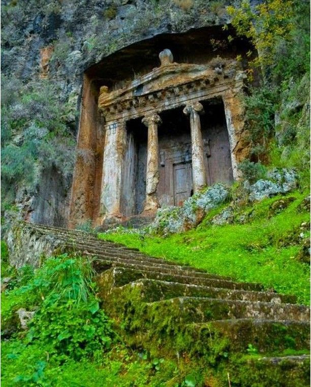 Tomb of Amyntas. Fethiye. The impressive looking tomb was built in 350 BC by the Lycians. (Photo: Fethiye Holidays) ~~ via seeyouturkey #fethiye #turkey #travel
