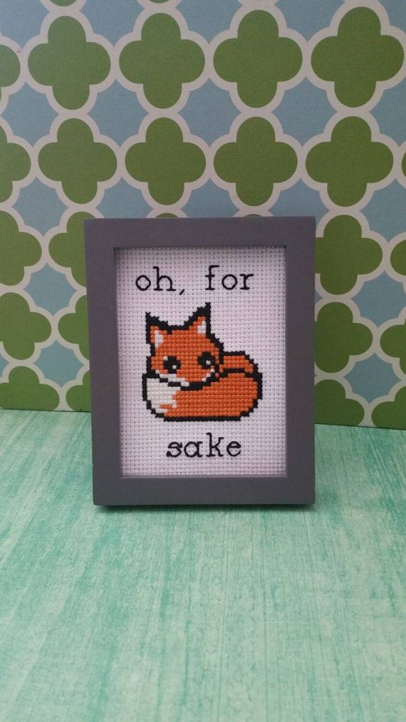This mini cross stitch pattern is available for immediate download. Playful mini cross stitch pattern of a cute fox saying what they like to say... Oh, For Fox (Fucks) Sake! :D  Framed piece available for purchase in my shop: https://www.etsy.com/listing/262090794/framed-cross-stitch-art-oh-for-fox-sake?ref=shop_home_active_20  ~~~~~~~~~~~~~~~~~~~~~ Details: Fabric:Aida 14 count, white 28w x 45h stitches Size: 2w x 3-1/8h inches Colors: 3 DMC  Pattern comes with both symbol and stitches…