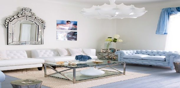 Modern Chic White and Blue Living Room