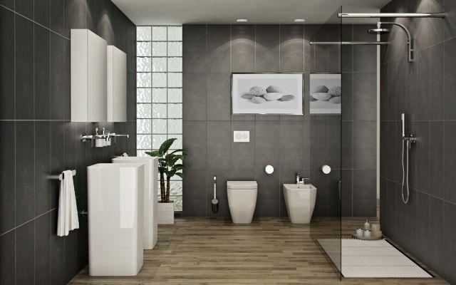 badezimmer-holzboden-bodengleiche-dusche-glas-abtrennung-graue, Badezimmer gestaltung
