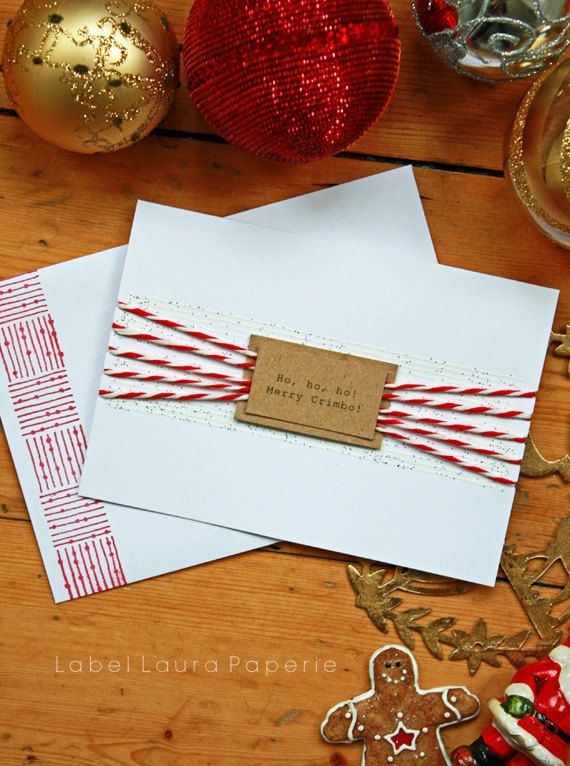 Merry Crimbo Christmas Card Handmade modern by LabelLauraPaperie, £4.50