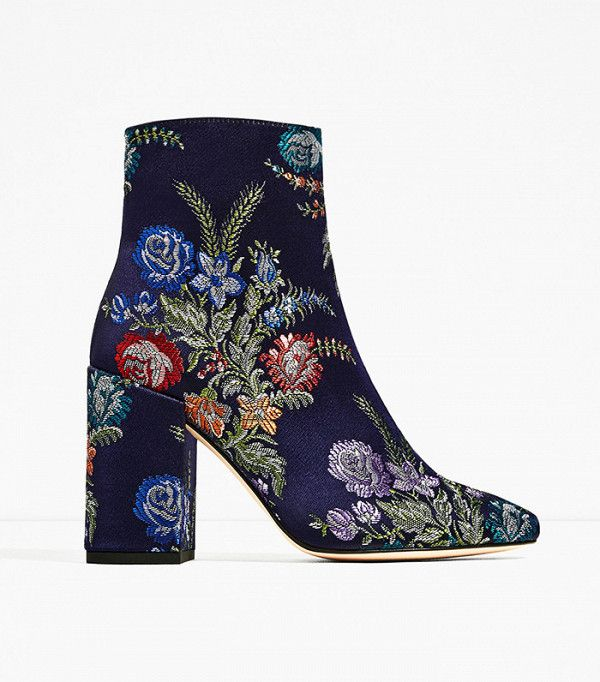 The best winter boots include these incredible floral brocade beauties from Zara.