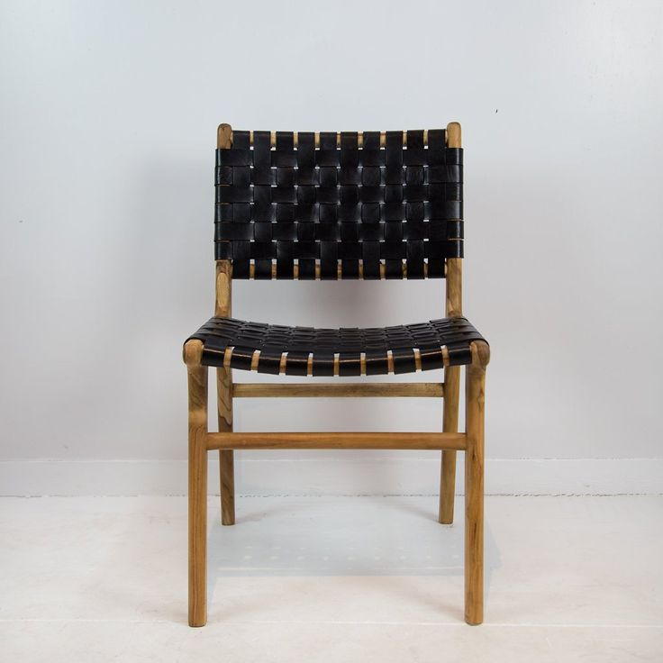 Leather Weave Dining Chair (Black on Natural)