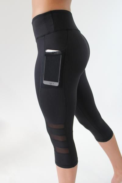 Capris with mesh pocket for phone