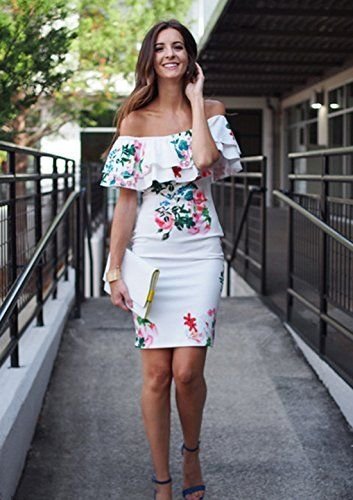 f67ab89d289f Amazon.com  Floerns Women s Floral Ruffle Off Shoulder Party Sexy Bodycon  Dress  Clothing