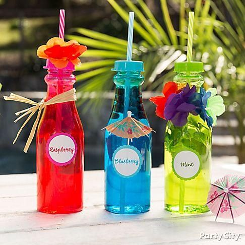 Refresh your guests with fruity raspberry, blueberry or mint water! Serve them in our Bright Colored Soda Bottles with straws for a perfect summer inspired drink!