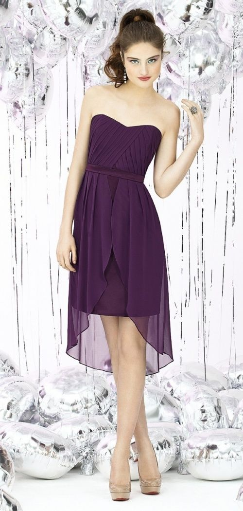 Chiffon Ruched Draping Tulip Short-length Purple Bridesmaid Dress #bridesmaid #short #dress
