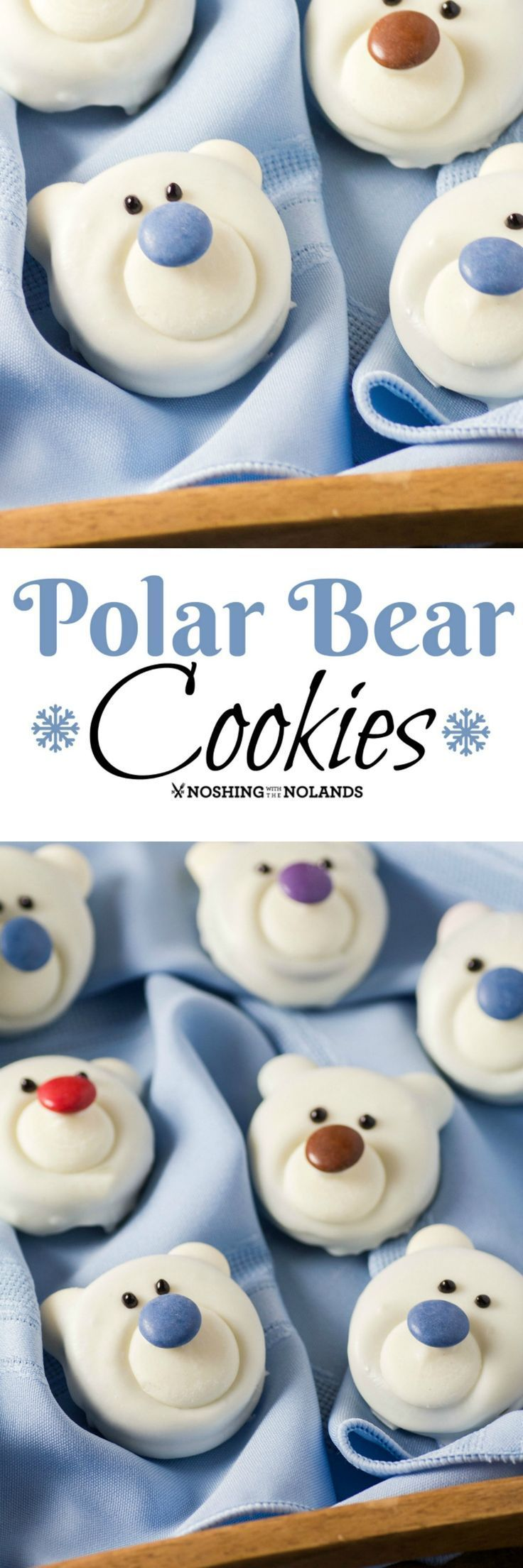 Polar Bear Cookies by Noshing With The Nolands are a fun, no-bake treat that the kids will enjoy making with you. A delightful addition to your holiday cookie tray! Recipe.