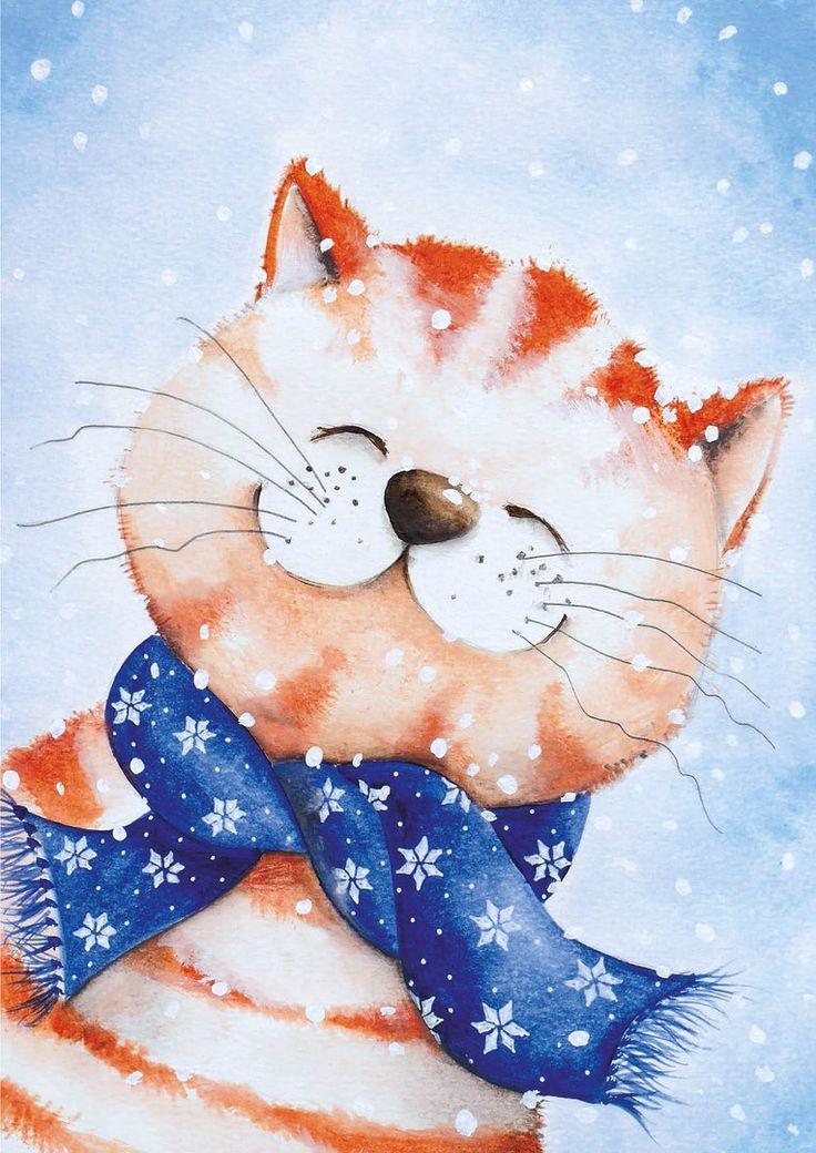 Мультяшные картинки зима животные
