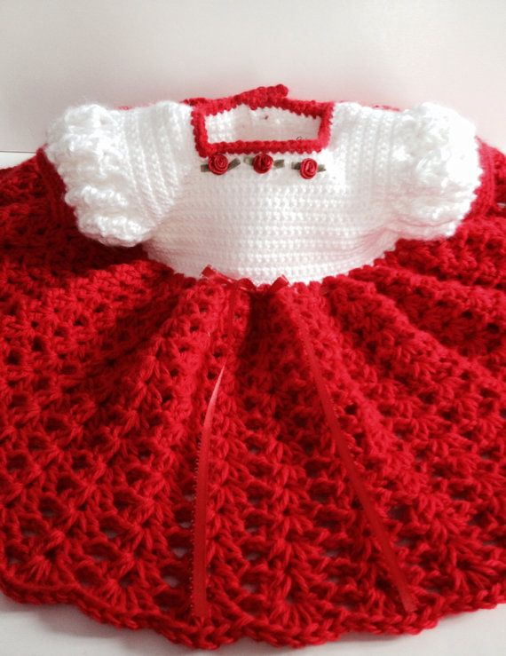 Crochet Baby Dress Infant Red and White by GoingCrafty on Etsy