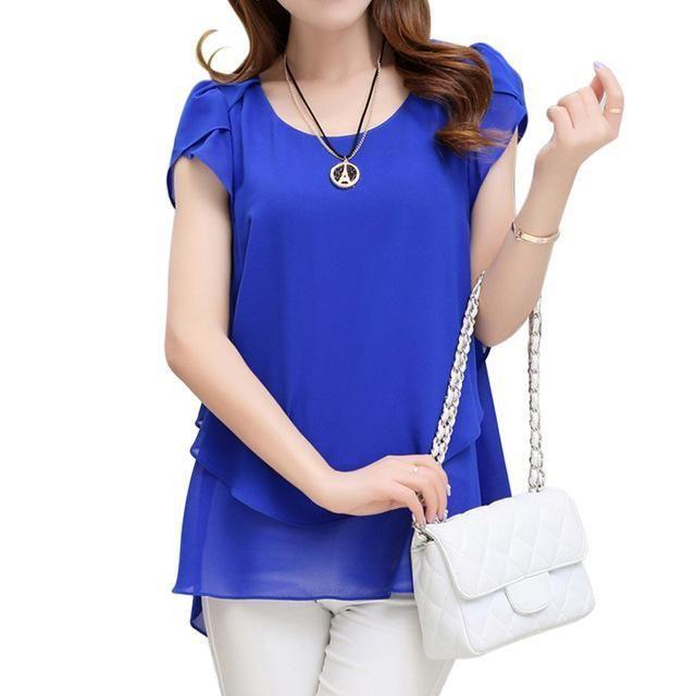 Women Double layered Chiffon Shirt Top Black / XL