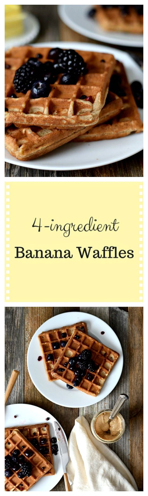 Flourless 4-Ingredient banana waffles: Just banana, eggs, nut butter and baking soda!