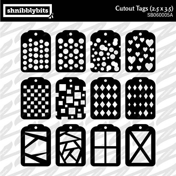 12 Patterned Tag Cutouts with Folder 2.5x3.5