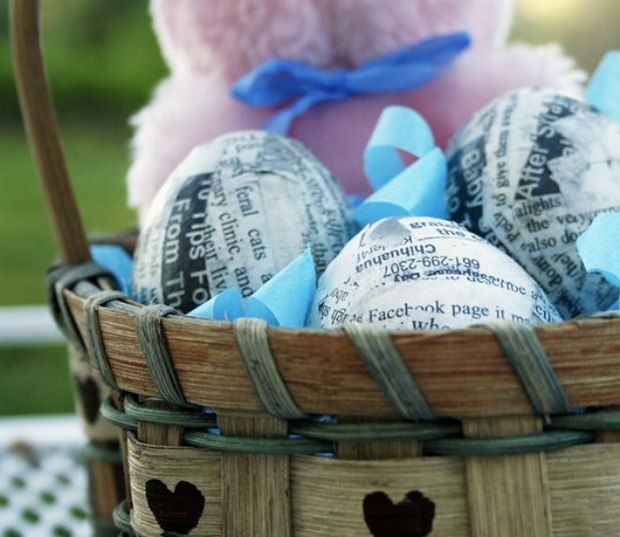 Basket Making Using Recycled Materials : Easter eggs decorating ideas using wooden basket from