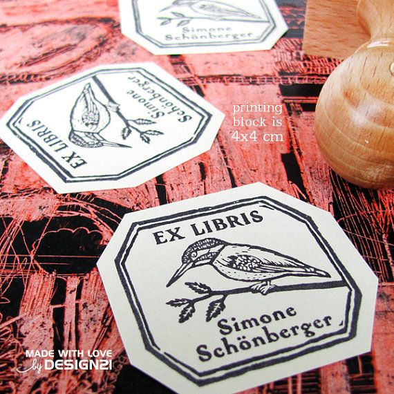 King-fisher: personalised rubber stamp 4x4 cm by lida21 on Etsy