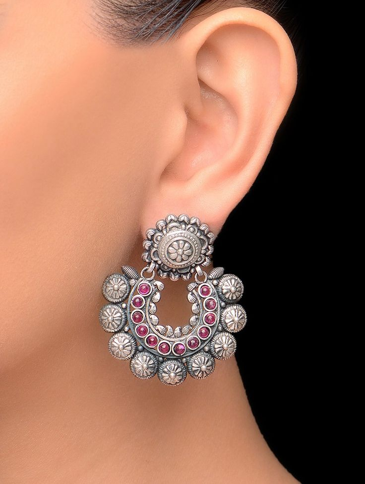 Silver Pink Tribal Floral Earrings